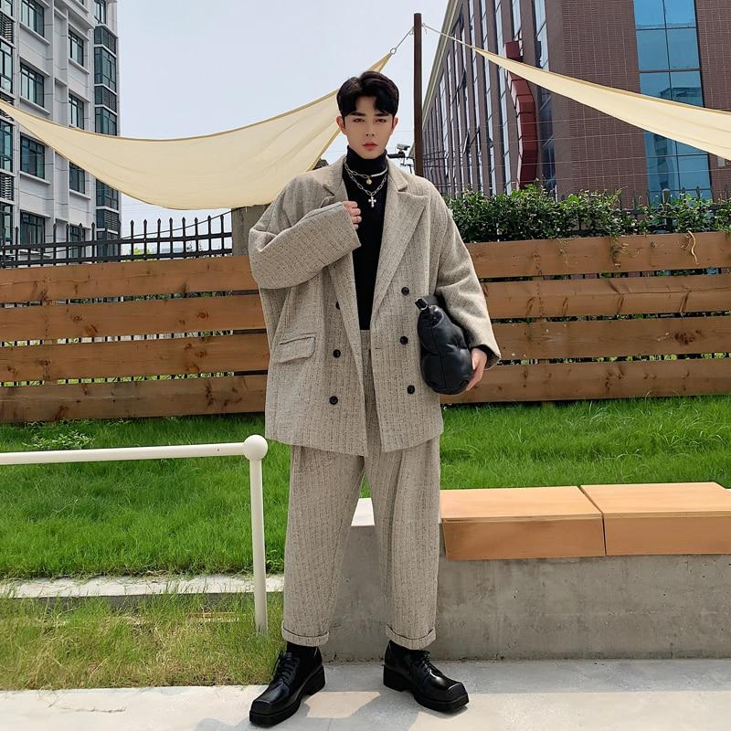 Male Vintage Streetwear Hip Hop Oversize Loose Stripe Suit Coat Trouser Blazer Outerwear Men Thick 2PCS Suits Sets (jacket+pant)