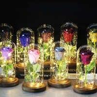 2020 beleza e besta flor eterna rosa no frasco decoração de casamento flores artificiais na capa de vidro para o presente do dia dos namorados