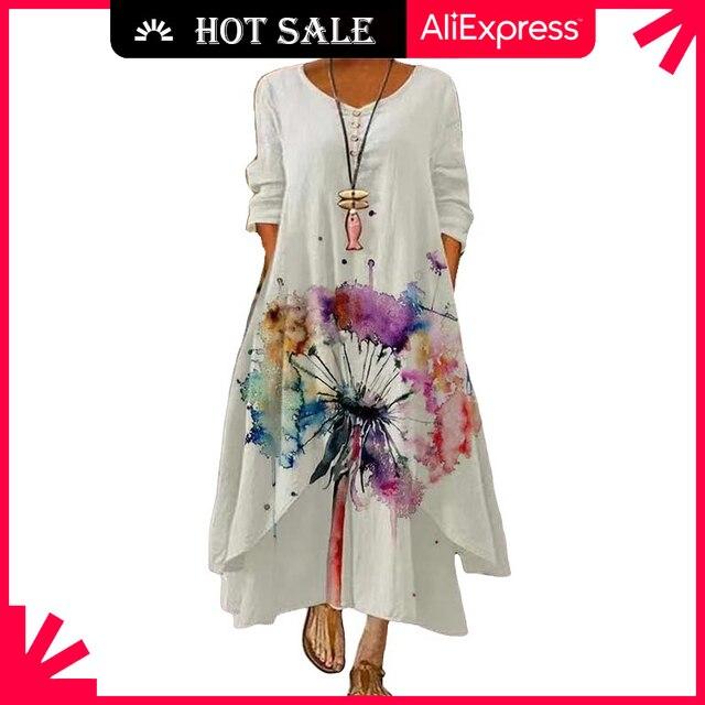 MOVOKAKA 2021 White Long Dress Women Floral Print Vintage Long Sleeve Elegant Dress Plus Size Vestido Women Casual Dresses Party 1