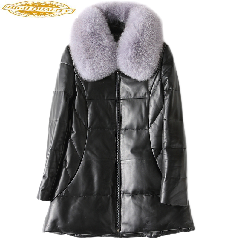 Women Real Leather Jacket Detachable Natural Fox Fur Collar Genuine Leather Sheepskin Coats Winter Down Jackets WYQ1675
