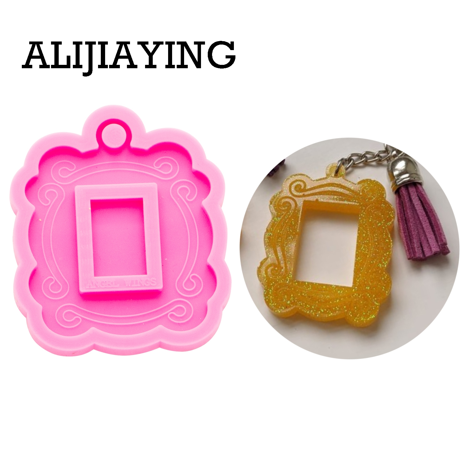 DY0262 Smooth Art Design Photo Frame Pendant Craft Epoxy Resin DIY Silicon Mold For Keychain Resin Jewelry