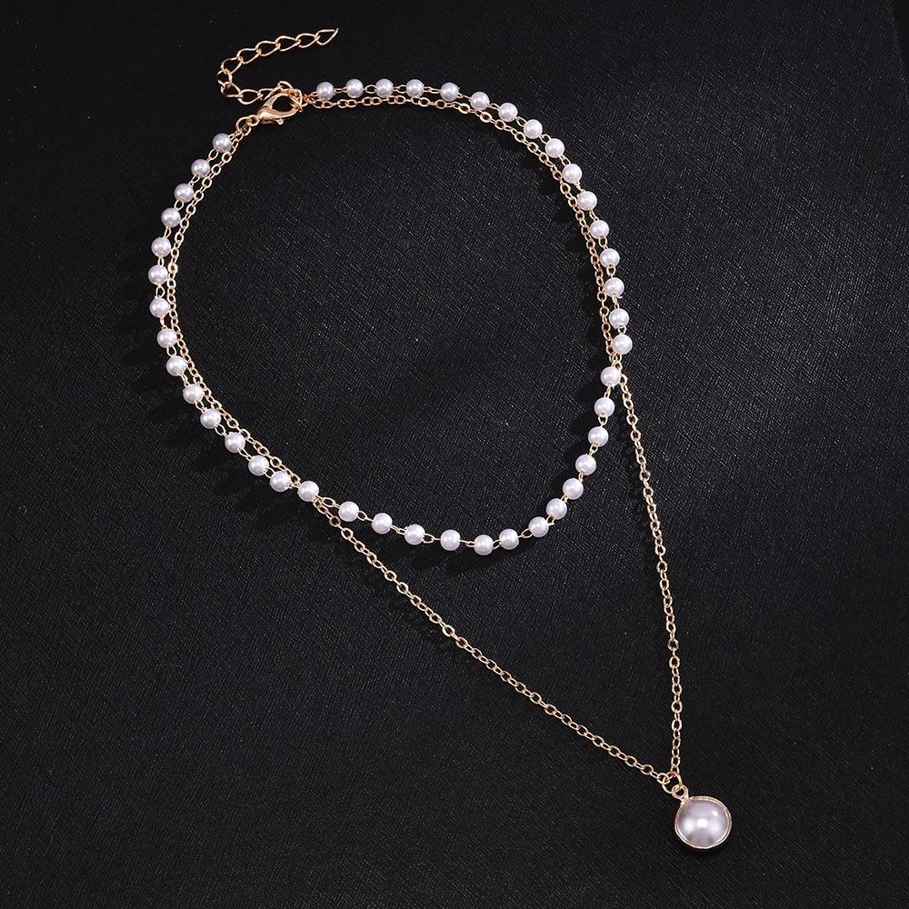 Collar doble con cadena de perlas para mujer, regalo para niña, accesorios de cadena de clavícula salvaje, gran oferta, 2020