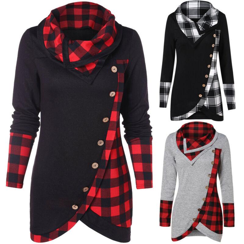2018 Hot Sale Winter Women Warm Pullover Long Sleeve Plaid Sweatshirt Tops Dress Casual Ladies Hoodies Sweatshirt Irregular Hem
