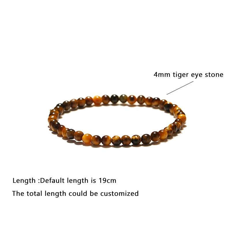 Minimalist 4mm Small Beads Tiny Bracelets Unisex Natural Obsidian Map Tiger eye Bracelet Male Armband Jewelry Homme Pulseira
