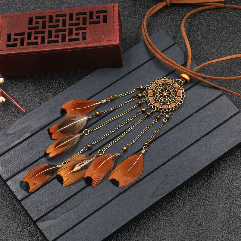 Hce7c0efbd4df49069d8333028b65aba8N - Women Bohemian Ethnic Long Chain Feather Pendant Dreamcatcher Necklace Choker Boho Clothing Jewelry Accessories
