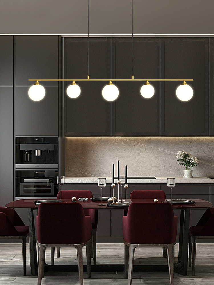 Dining Room Nordic Simple Chandelier Glass Ball Restaurant Bar Coffee LED Hanging Light Black Or Gold Office Long Pendant Lamp