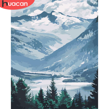 HUACAN Paint By Number Mountain DIY Pictures By Numbers Scenery Kits Hand Painted Painting Art Drawing On Canvas Gift Home Decor