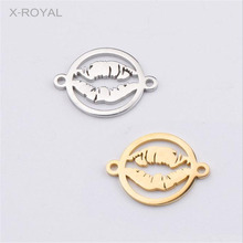 X-ROYAL 10Pcs/lot Sexy Lips DIY Connectors Stainless Steel Necklace Charms Pendants 15*20mm Jewelry Findings