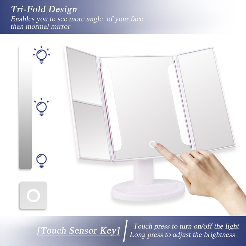 36LEDS Light Makeup Mirror Touch Screen LED Mirror Luxury Mirror 1X 2X 3X Magnifying Mirrors 360 Degree Adjustable Table Mirror in Vanity Lights from Lights Lighting