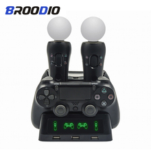 цена на PS4 PS Move VR PSVR Joystick Gamepad Charger 4 in 1 Stand Controller Charging Dock Station Stand For Playstation PS4 PSVR Move