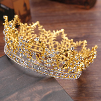 New Full Round Bridal Crown Gold/Silver Color Crystal Bride Tiaras Headpieces Fashion Classic Princess Wedding Hair Accessories