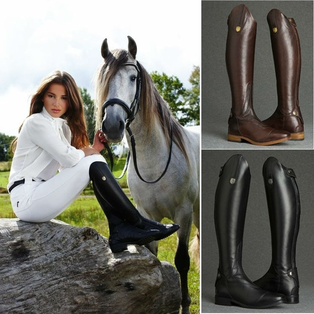 Cool Women Rider Horse Riding Boots Smooth Leather Knee High Boots Autumn Winter Warm High Boots Mountain Riding Boots