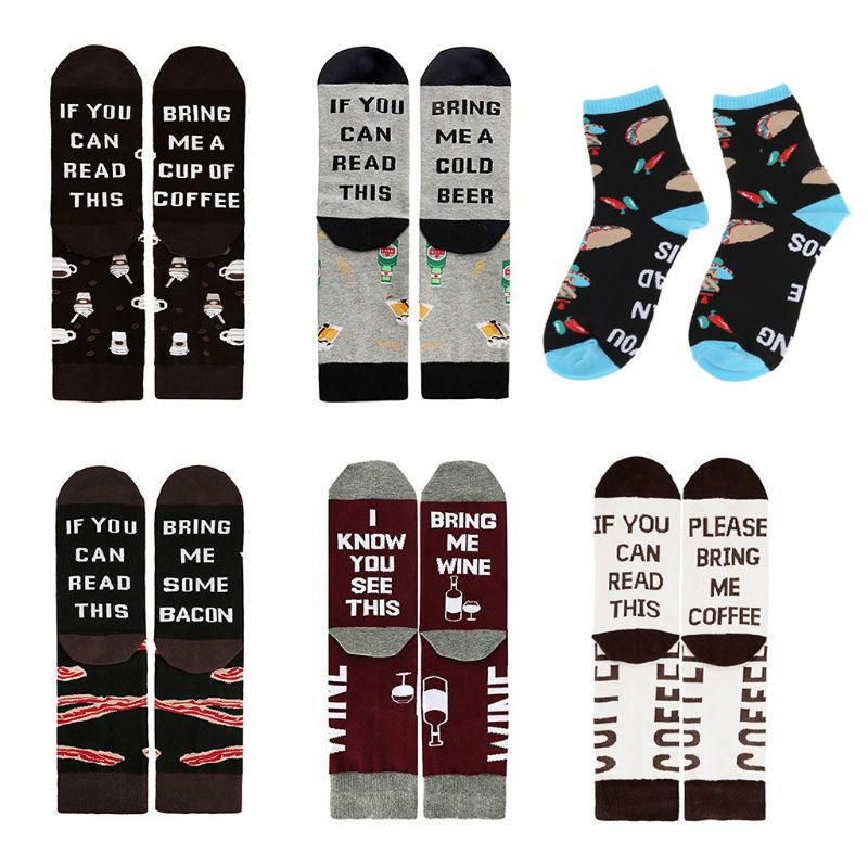 Unisex If You Can Read Tacos Wine Beer Crew Socks Funny Letters Cotton Hosiery