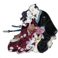 Лоскутная одежда с вышивкой Япония воин пара пришивной стикер японский самурайский господин кимоно госпожа DIY патч одежда бейдж, аппликаци...
