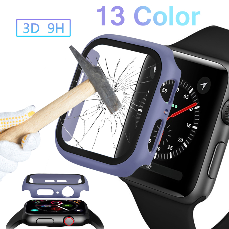 Tempered Glass Case For Apple Watch Series 5 4 3 2 Matte Plastic Bumper Hard Frame Cover Iwatch 44mm 40mm 38mm 42mm Accessories