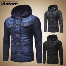 Новинка, мужские джинсовые куртки, Мужская Осенняя джинсовая куртка с капюшоном для мужчин, высокое качество, модная классическая Лоскутная Мужская одежда, уличная одежда
