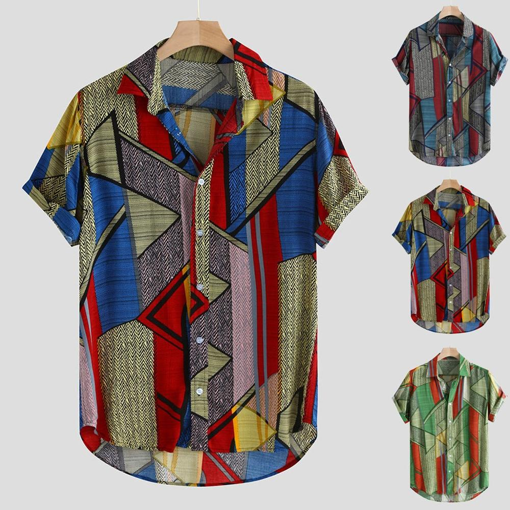 Mature Male Gentleman Lapel Retro Hawaiian Shirt Mens Ethnic Style Summer Short Sleeve Loose Buttons Casual Shirt Blouse Tops