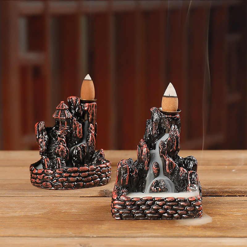 Soporte de incienso de resina para decoración del hogar, quemador de incienso de reflujo de cascada de montaña Artificial