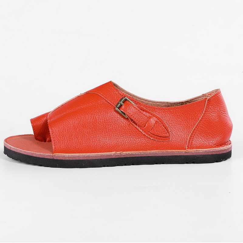 Adisputent kadın ayakkabı yumuşak suni deri kadın sandalet kadın düz sandalet kadın rahat yaz plaj ayakkabısı kadın toka