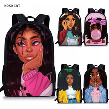 Koko Cat Afro Lady Girl Backpack African Beauty Princess Printing School Bag for Children Primary Orthopedic Bookbag