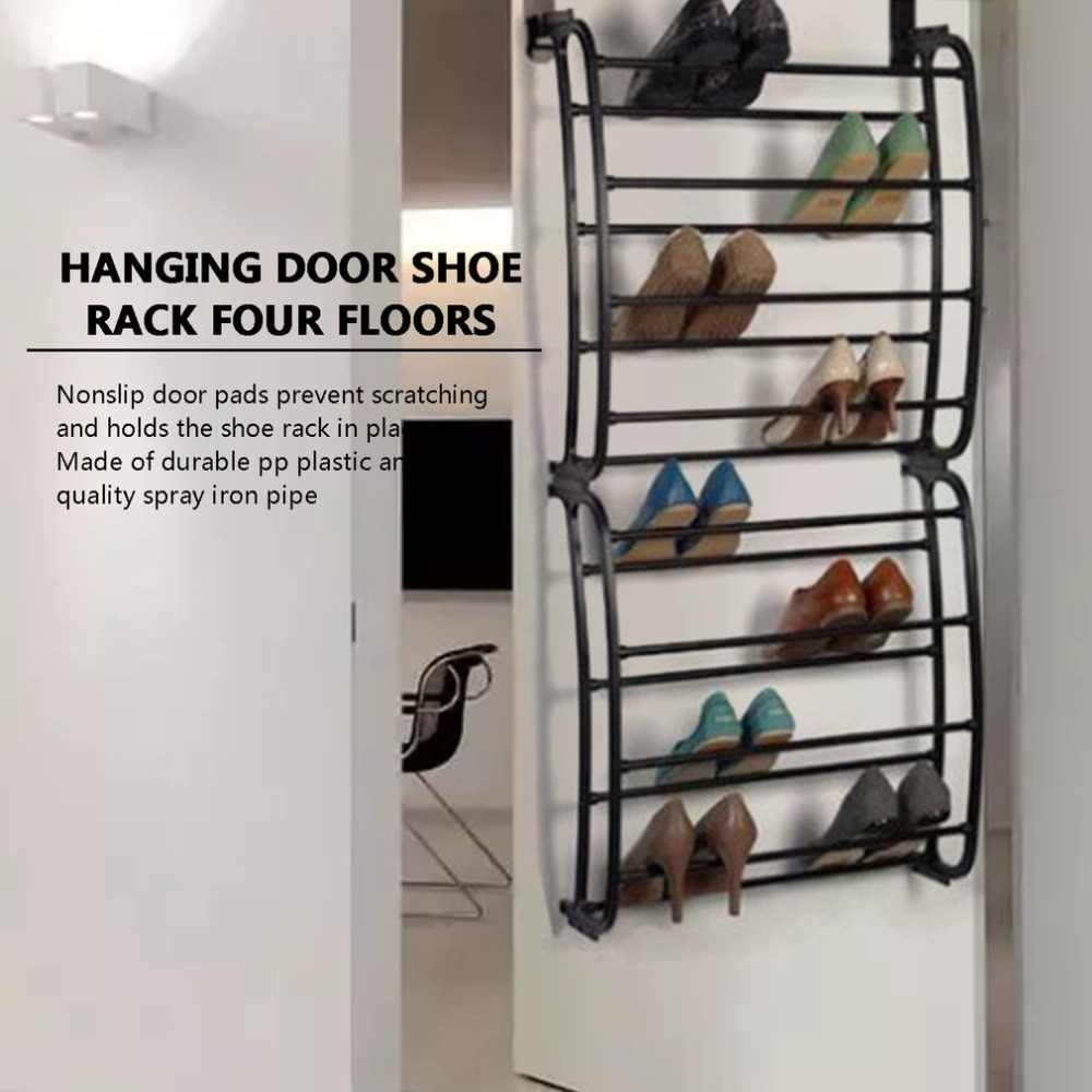 4 Layers Hanging Shoe Rack for 12 Pairs of Shoe Rack with Non Slip Door Pads to Prevent Scratching 6