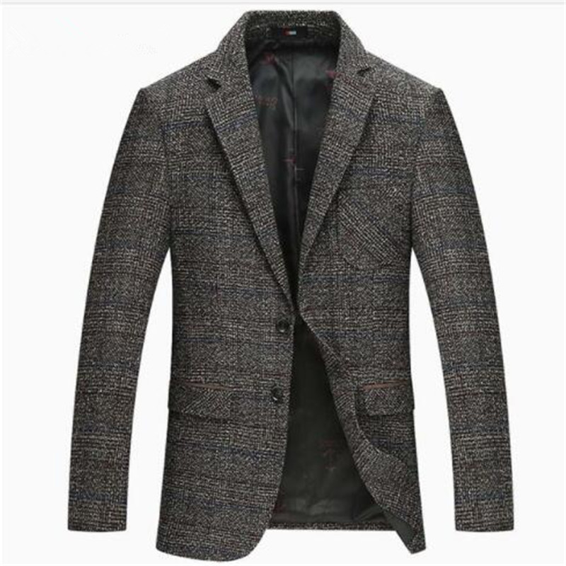 2018 Autumn Winter New Men Casual Business Blazer Wool Suit Jacket Slim Outwear M-4XL