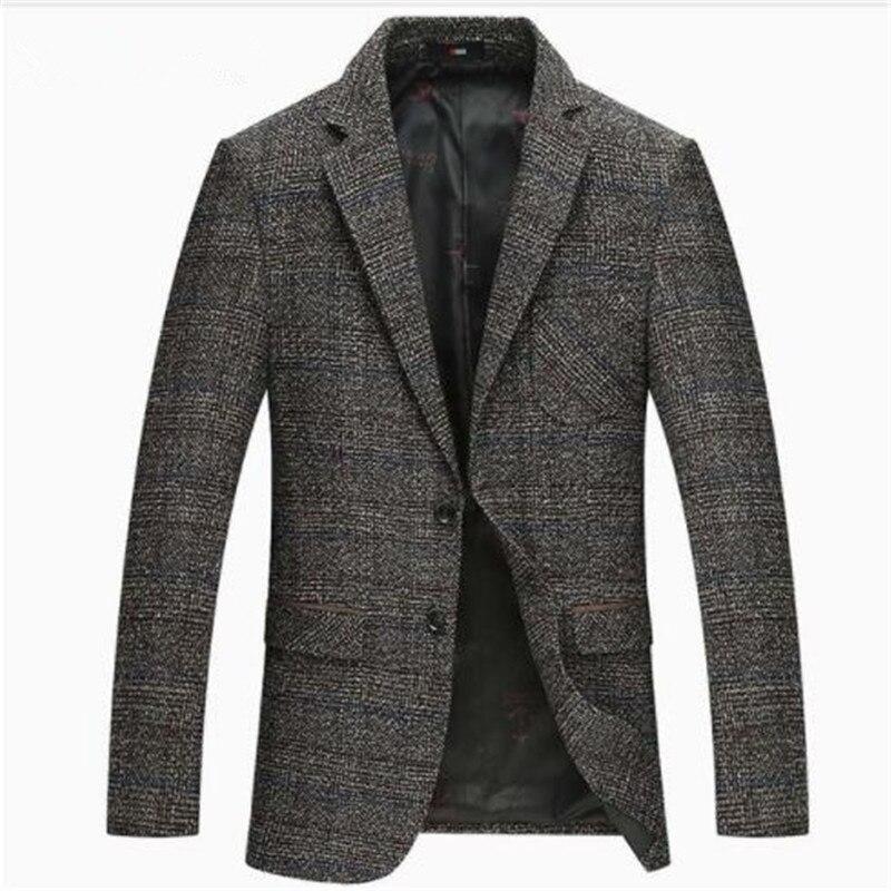 2018 Autumn Winter New Men Casual Business Blazer Wool Suit Jacket Slim Outwear M-4XL