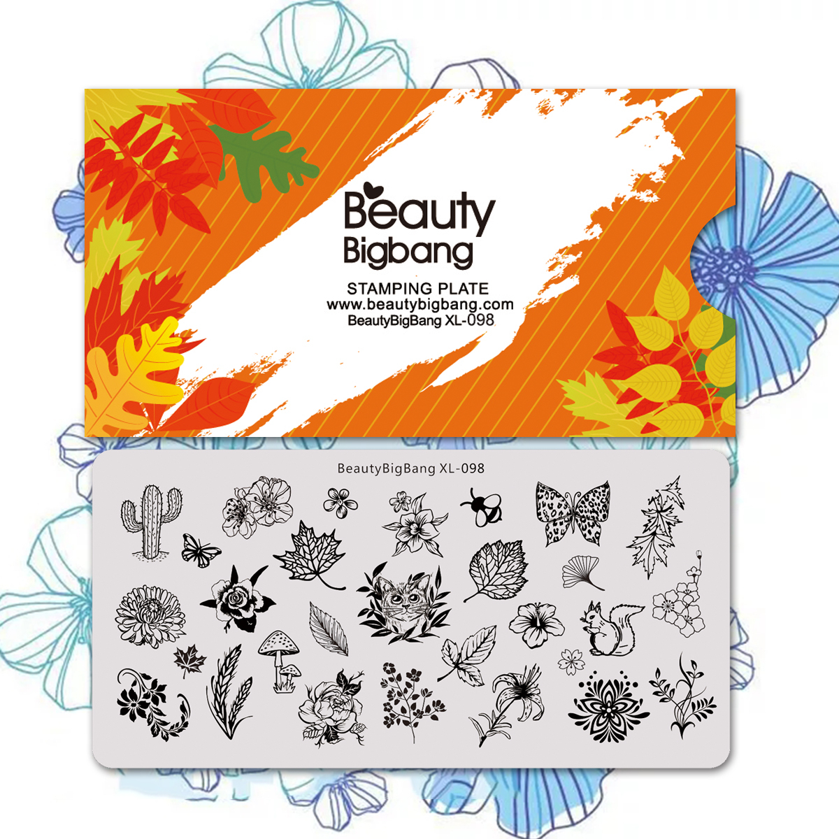 Beautybigbang Nail Stamping Plates For Nails Art Cat Butterfly Flower Leaves Template Nail Accessories Stencil Mold XL-098