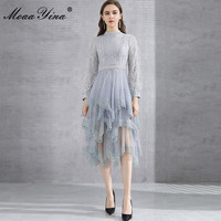MoaaYina Fashion Designer dress Autumn Women's Dress Long Sleeve Patchwork Ruffles Mesh Sequined Asymmetrical Dresses