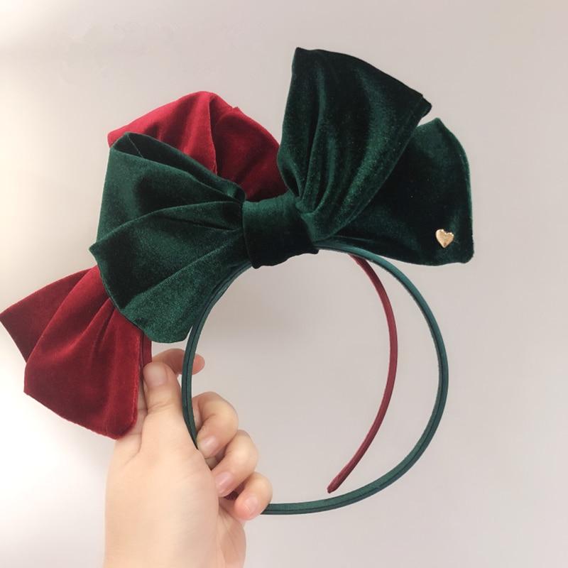 Christmas Hairbands Oversize Velvet Bow Hair Band For Women Girls Lovely Cartoon Antlers Headband Hair Accessories Photo Props
