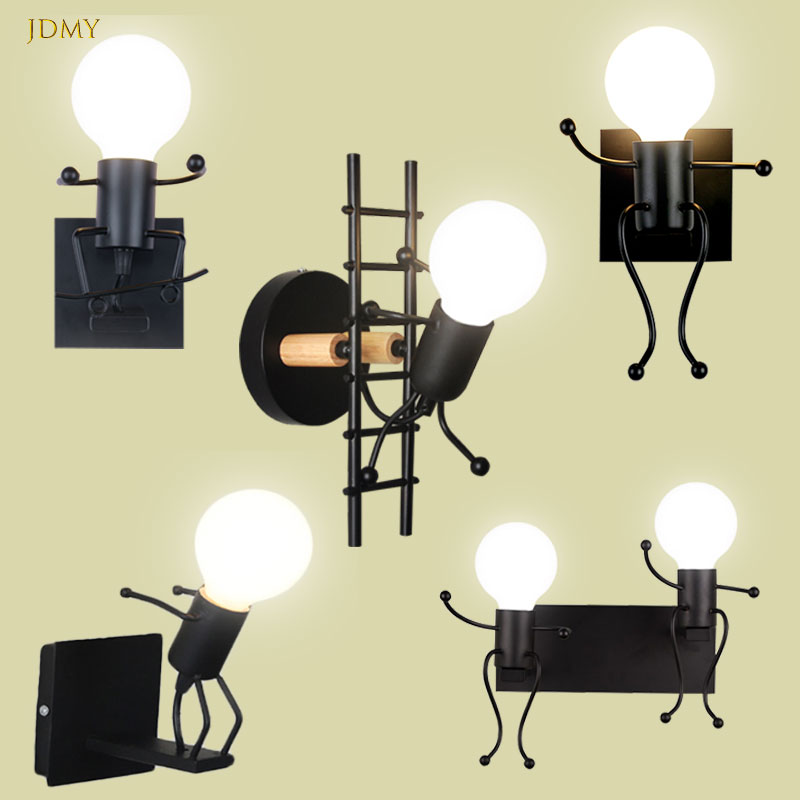Wall lightchandelier wall lamp lights LED lamp Creative Mounted Iron Bedside Sconce Lamp for Kids Baby Room Living RoomDining ro