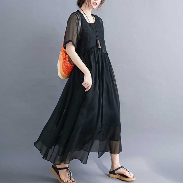 #0352 Plus Size Dress For Women Summer 2021 Elegant Embroidery Floral Loose A-line Pleated Midi Dresses Ladies Short Sleeves  3