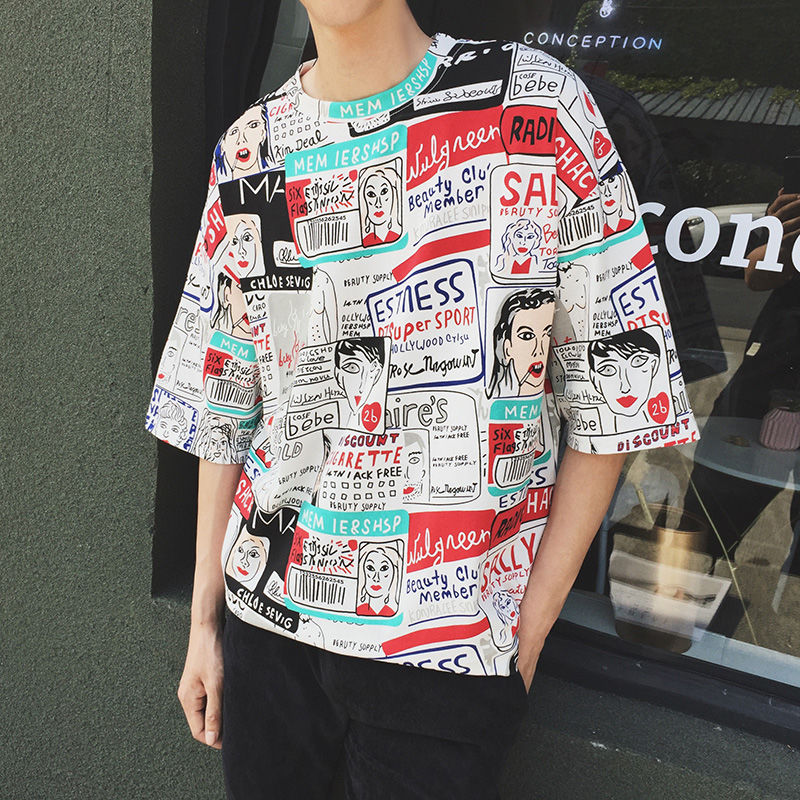 Streetwear Tshirt <font><b>Korean</b></font> <font><b>Style</b></font> <font><b>Oversized</b></font> T <font><b>Shirt</b></font> Harajuku <font><b>Men</b></font> Funny Graffiti Hip hop Summer <font><b>Shirt</b></font> Short Sleeve Clothes White image