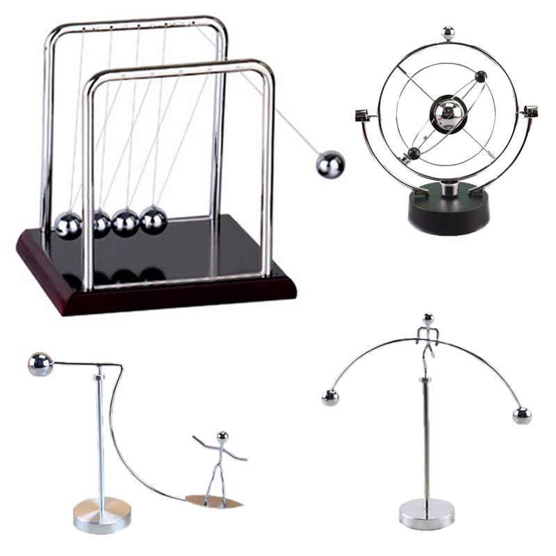 1Pc Newtons Cradle Table Decor Steel Balance Ball Metal Pendulum Ball Physics Tumbler Craft Home Decorations Desk Toy Gift