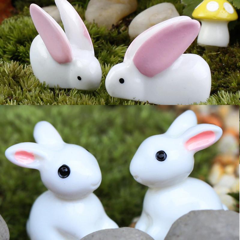 2Pcs Cute Easter Mini Rabbit Garden Ornament Miniature Figurine Plant Pot Fairy Decor Model Figure Hare Modern Statue