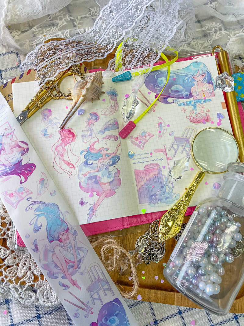 Hada de los sueños chica del mar cintas Washi bala diario cinta adhesiva DIY Scrapbooking pegatinas de papel Washi