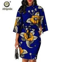 2019 africano vestidos para as mulheres afripride bazin riche ancara imprimir puro algodão privado personalizado cera batik arco o-pescoço vestido s1825092