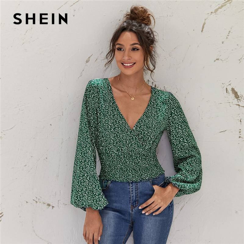 SHEIN Green Lantern Sleeve Ditsy Floral Crop Top Autumn Long Sleeve Wrap V Neck Shirred Hem Boho Womens Tops and Blouses|Blouses & Shirts| - AliExpress