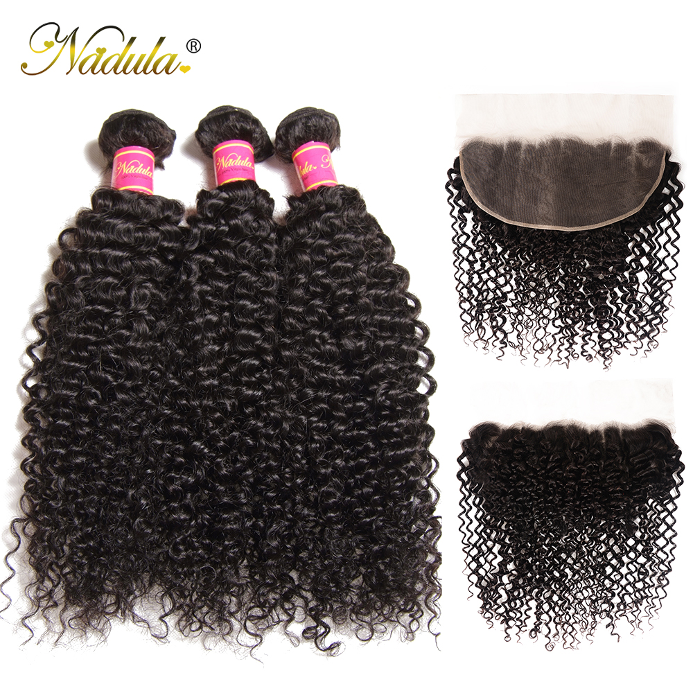 Nadula Hair  Curly Bundles With Frontal Closure 100%  Frontal 13*6 Ear to Ear Lace Frontal With Bundles 1