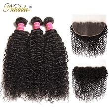 Nadula Haar Braziliaanse Krullend Bundels Met Frontale Sluiting 100% Remy Human Hair Frontale 13*6 Oor tot Oor Kant frontale Met Bundels