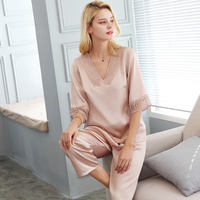 Modern 100% Real Silk Women sleeping Fashion Trend Pajama Pants Sets High Quality mulbery solid Pyjama Lounge Set middle sleeve