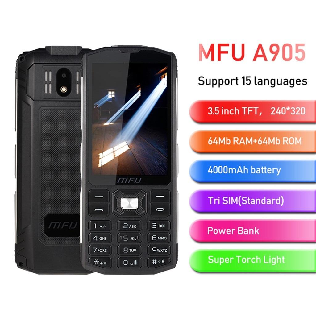 MFU A905 3.5inch 4000mAh Power Bank Tri SIM Wireless FM Big Volume Feature Phone Super Torch