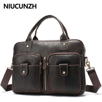 NIUCUNZH Men's Bag Genuine Leather Men Briefcases for Laptop Bag Leather Document Bags Office/Computer Bags for Men Totes brand genuine leather travel bag men cowhide leather laptop bags a4 office briefcases male leather shoulder bags totes