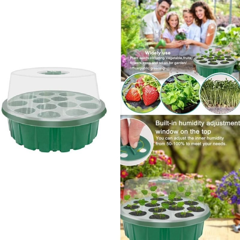12 Cells Garden Seed Starting Tray Plant Germination Kit
