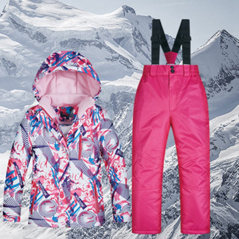 MUTUSNOW Kids Ski Suit Waterproof Warm Snow Jacket and Pants Thicken Winter Ski Snowsuit for Girls Skiing Snowboarding Outdoors