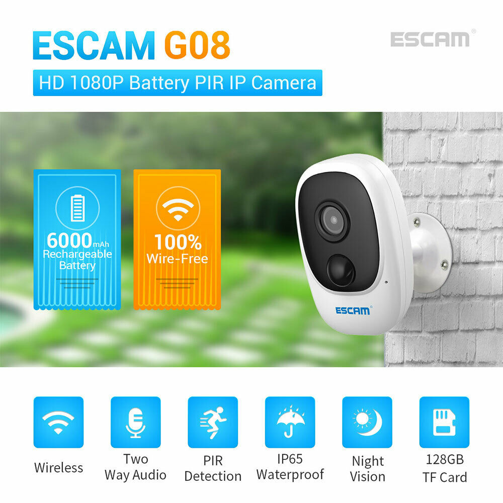 ESCAM G08 1080P WiFi Camera Battery Powered Outdoor Security Camera Weatherproof