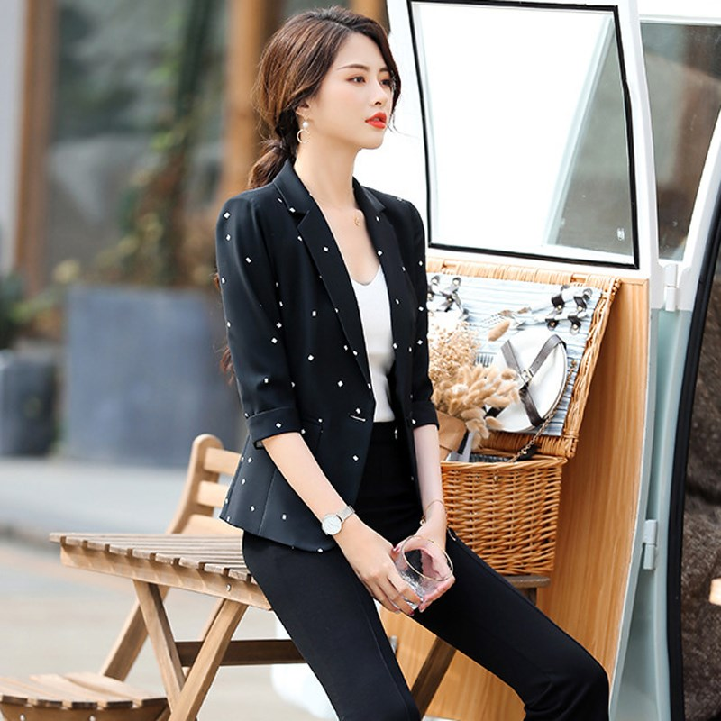 Women Elegant Notched Blazer Female Single Button Polka Dot Blazers Office Lady Half Sleeve Plus Size Blazer