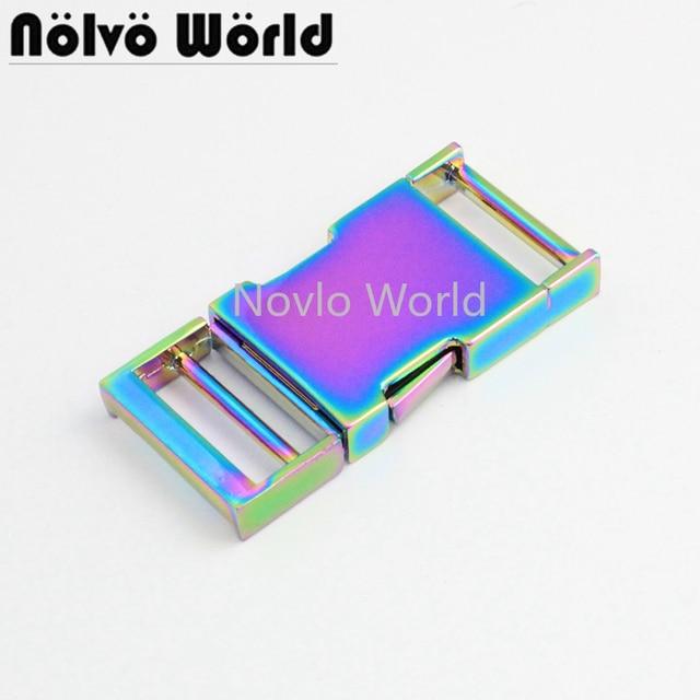 5 10 30 pezzi 2.5 centimetri 1 inch Arcobaleno Collare di Cane Slider Fibbie, personalizzato fibbie a sgancio cinghia di regolazione