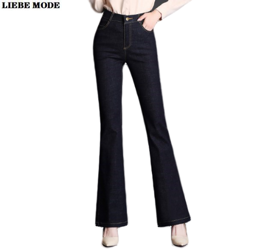 Office Ladies Plus Size Slim Flared Jeans for Women Stretch Skinny Flare Denim Pants Full Length Female Push Up Trouser 7XL 9XL