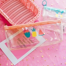 Watermelon Pineapple Pencilcase Transparent School Pencil Case for Boys Girls Stationery Gift Kawaii Zipper Fruit Pencil Bag Box watermelon pattern jelly pencil case